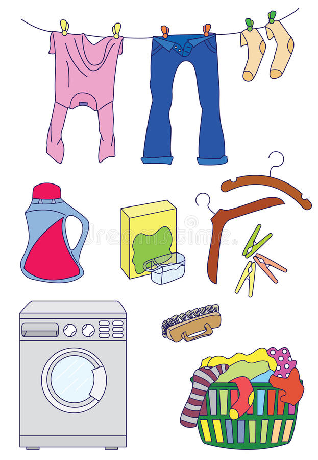 Laundry related icon set. Set of color laundry icons isolated on white background vector illustration