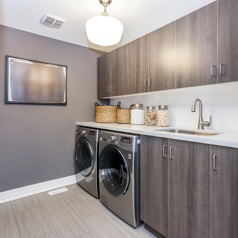 Laundry room. A beautiful view of a laundry room stock photo