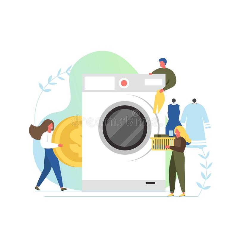 Laundry service, vector flat style design illustration. Laundry room with big washing machine and tiny characters, vector flat style design illustration. Coin stock illustration