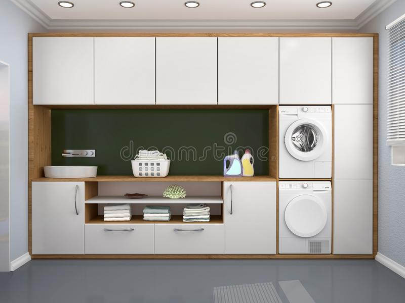 Laundry room design with washing machine. 3d illustration vector illustration