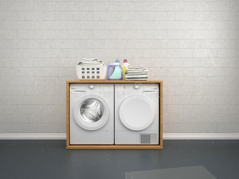 Laundry room design with washing machine. 3d illustration royalty free illustration