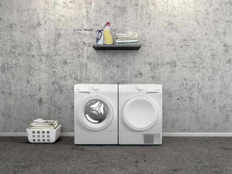 Laundry room design with washing machine. 3d illustration stock illustration