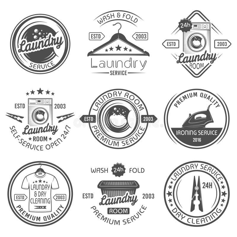 Laundry room, cleaning service vector emblems. Laundry room and dry cleaning service, ironing service set of vector black emblems, labels, badges and design vector illustration