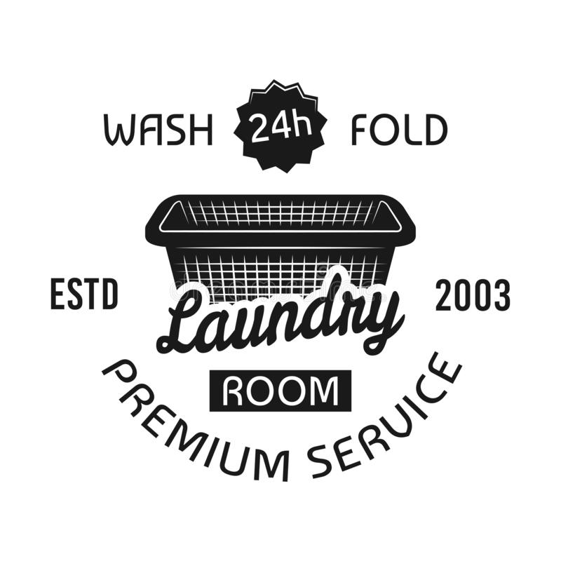 Laundry room, dry cleaning service vector emblem. Laundry room and dry cleaning service vector emblem, label, badge or logo in vintage monochrome style isolated stock illustration