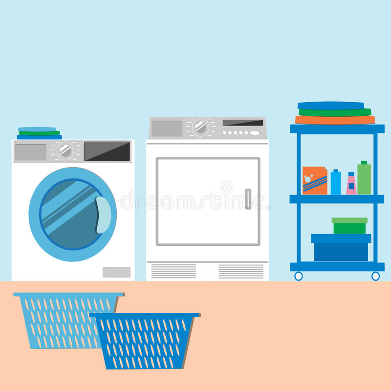 Laundry Room Flat style Vector illustration. stock photography