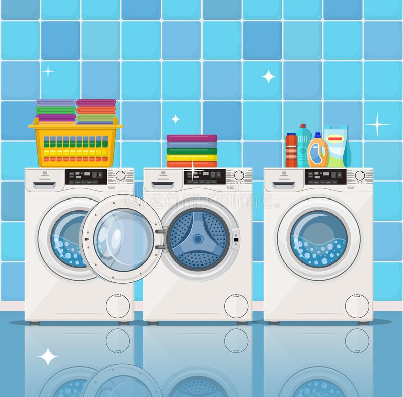 Laundry room interior. Vector background with iron, and washer machine, powder and clothes set. Vector illustration in flat style vector illustration