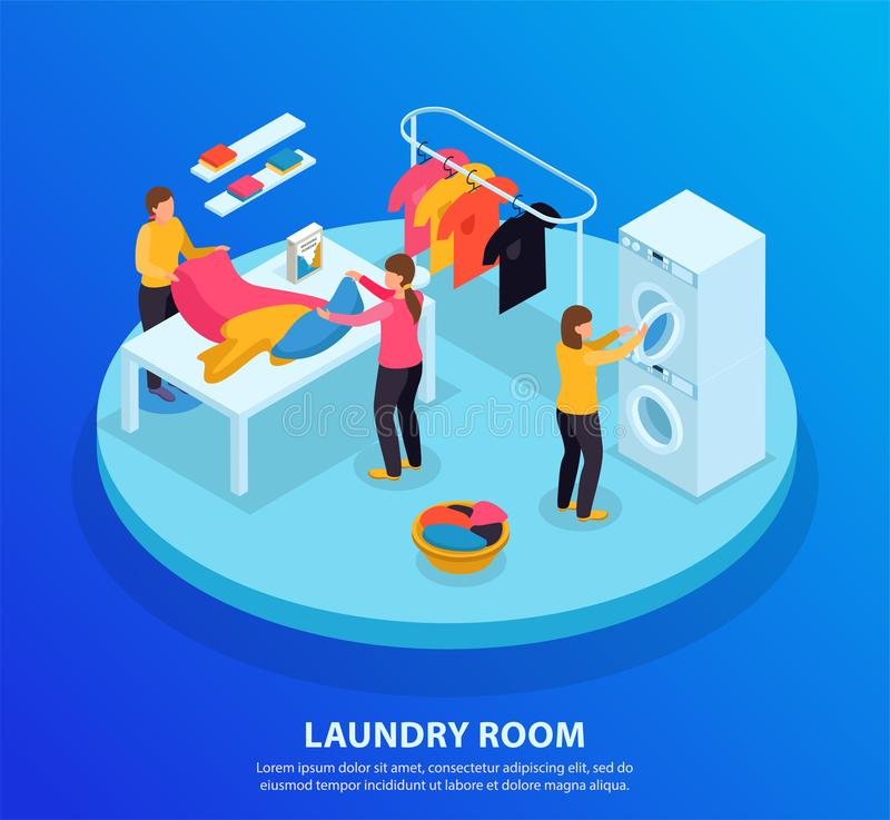 Laundry Room Isometric Background vector illustration