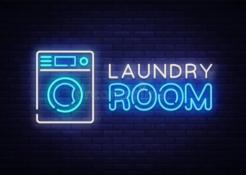 Laundry Room Neon Logo Vector. Dry Cleaning neon sign, design template, modern trend design, night neon signboard, night vector illustration