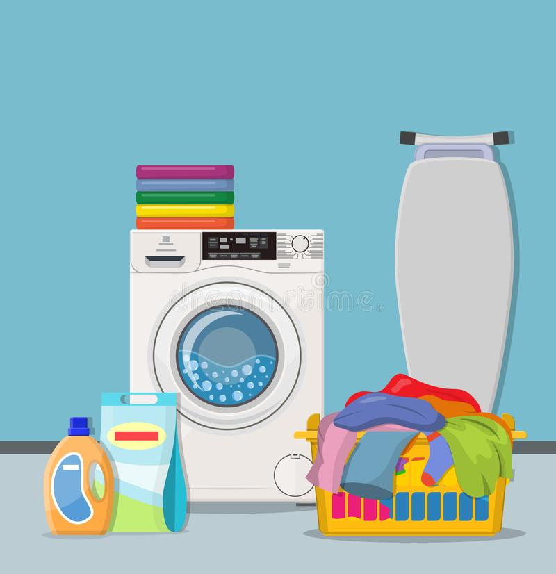 Laundry room service concept. Working washing machine with linen baskets, detergent, ironing board and towels. Cleaning service concept vector illustration