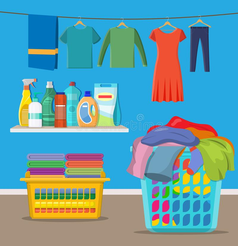Laundry room service. Linen baskets and detergent. Vector illustration in flat style stock illustration