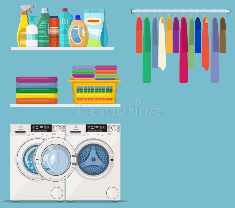 Laundry room service. Washing machine with linen baskets and detergent. Vector illustration in flat style vector illustration