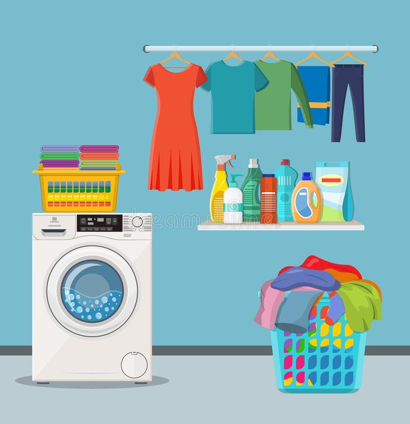 Laundry room service. Washing machine with linen baskets and detergent. Vector illustration in flat style stock illustration