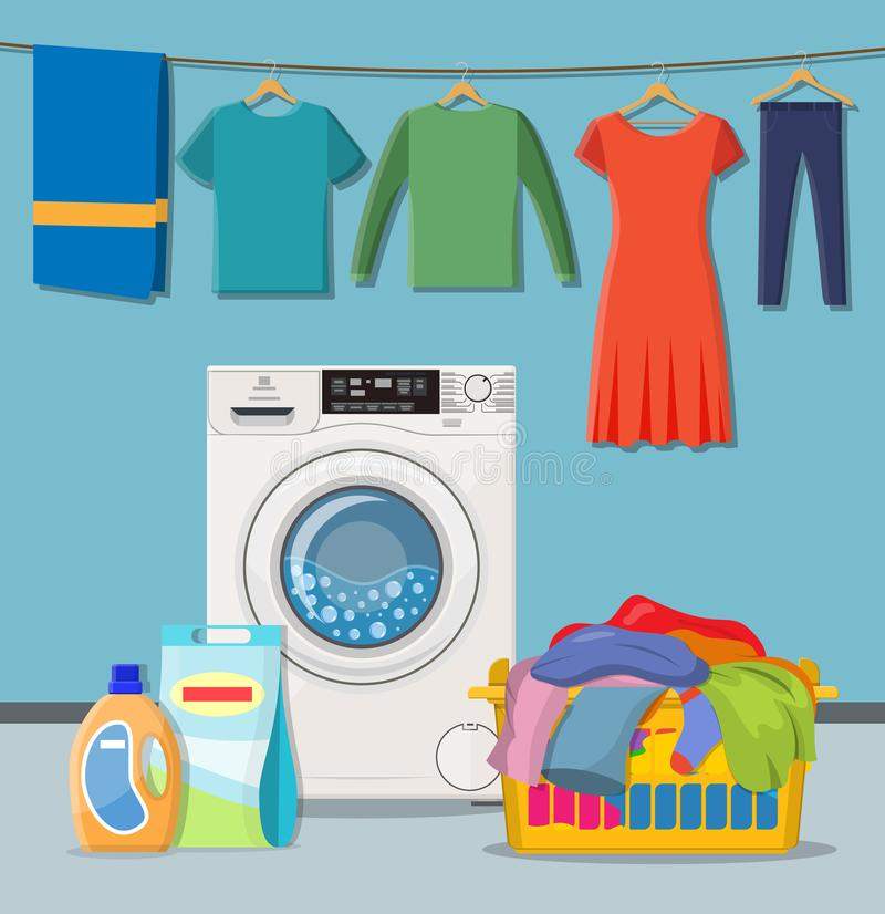 Laundry room service. Washing machine with linen baskets and detergent. Vector illustration in flat style royalty free illustration