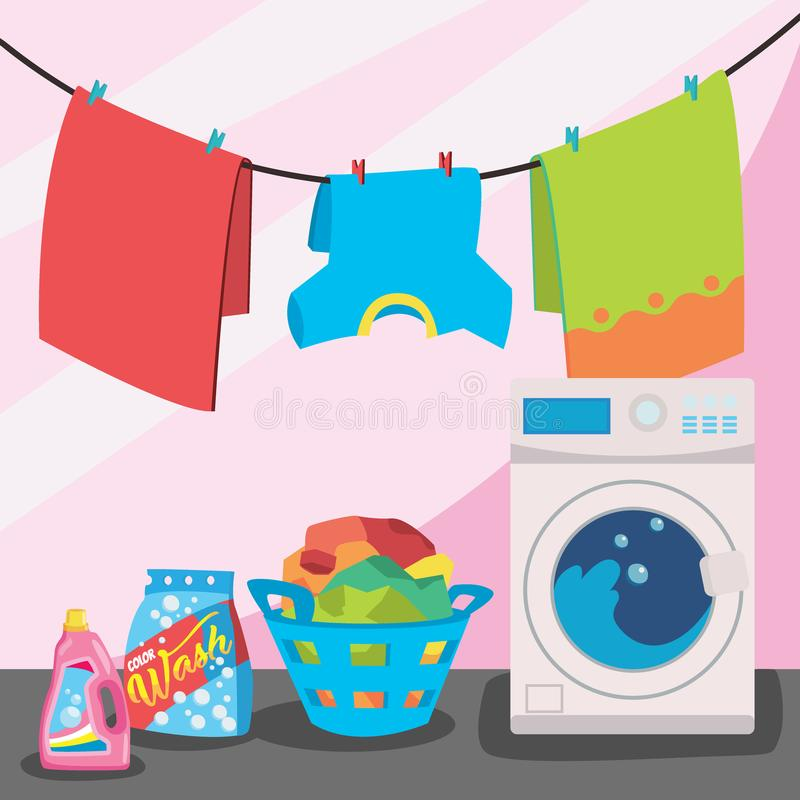 Laundry room service vector illustration, flat cartoon working washing machine. With linen baskets and detergent isolated on color background vector illustration