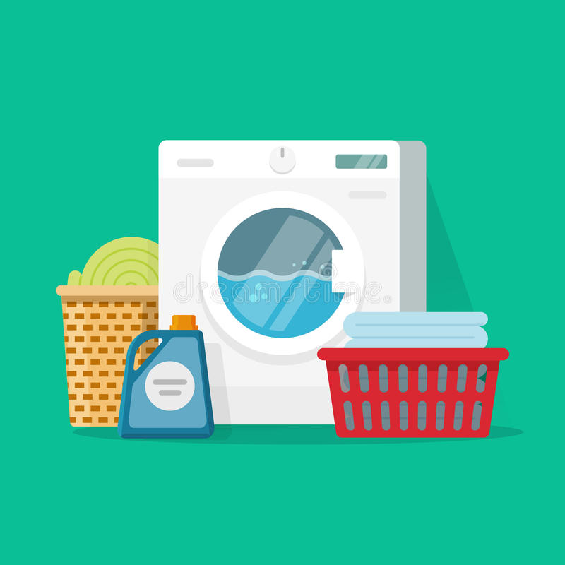 Laundry room service vector illustration, flat cartoon working washing machine with linen baskets and detergent vector illustration