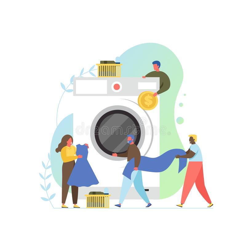 Laundry service, vector flat style design illustration. Laundry room with tiny characters loading big washing machine and putting coin into it, vector flat style royalty free illustration