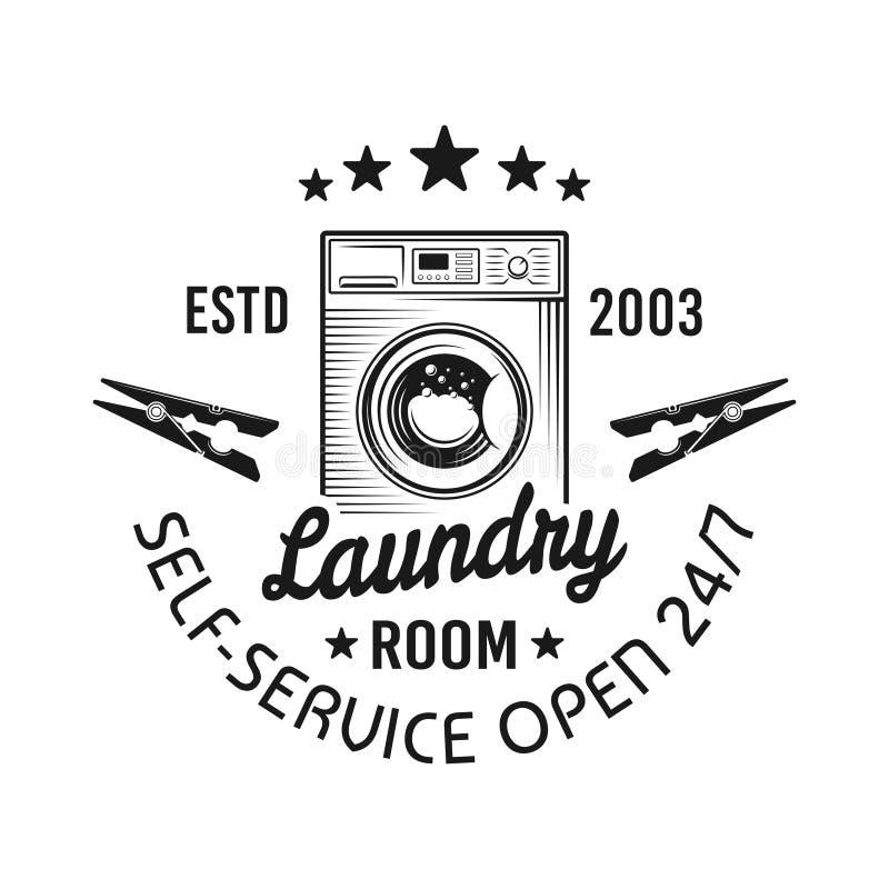 Laundry room vector emblem, label, badge or logo. Laundry room vector emblem with washing machine in vintage monochrome style isolated on white background vector illustration