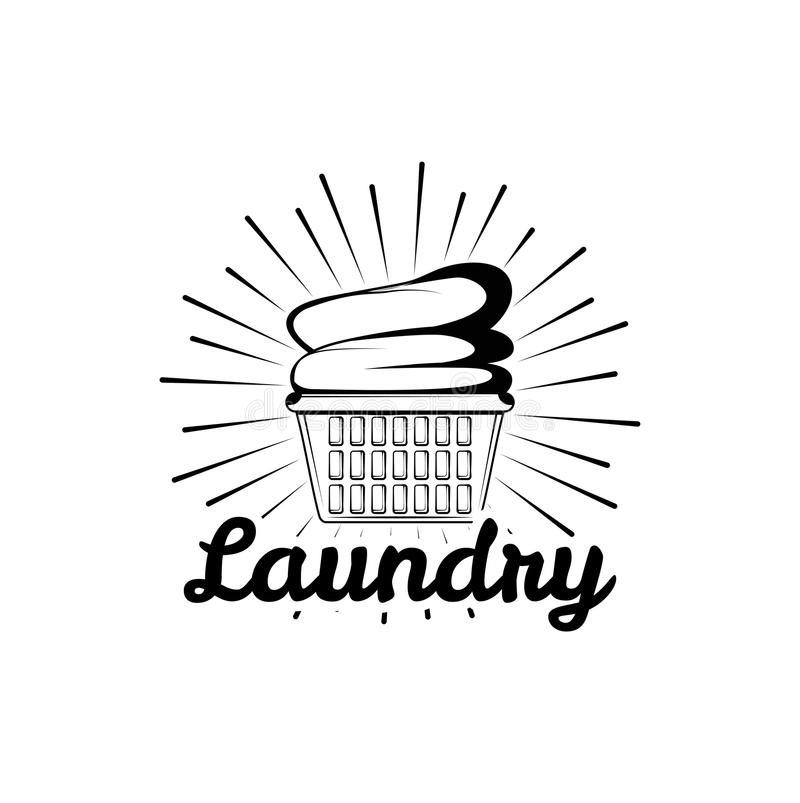 Laundry room vintage logo, label, badge with clean clothes in basket. stock illustration