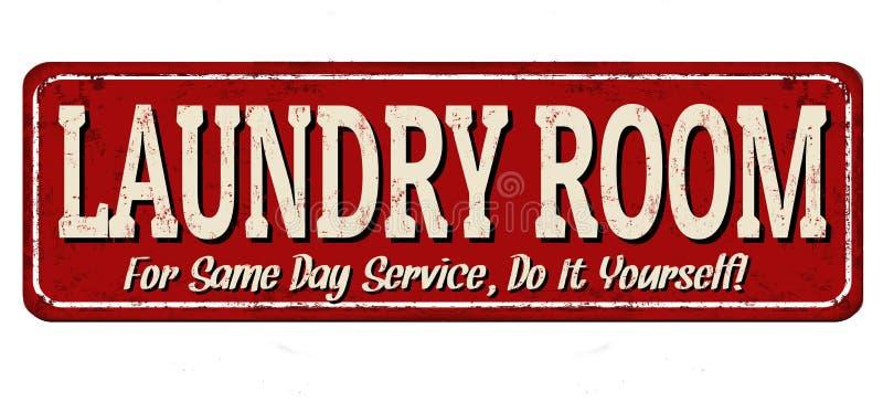 Laundry room vintage metal sign vector illustration