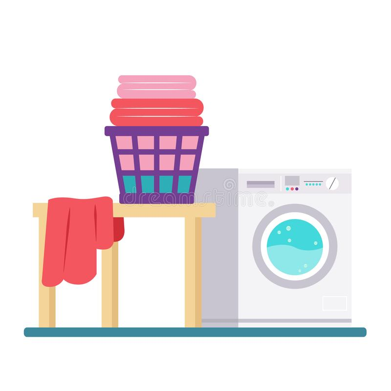 Laundry Room with Washing Machine and Dryer. Flat style vector illustration