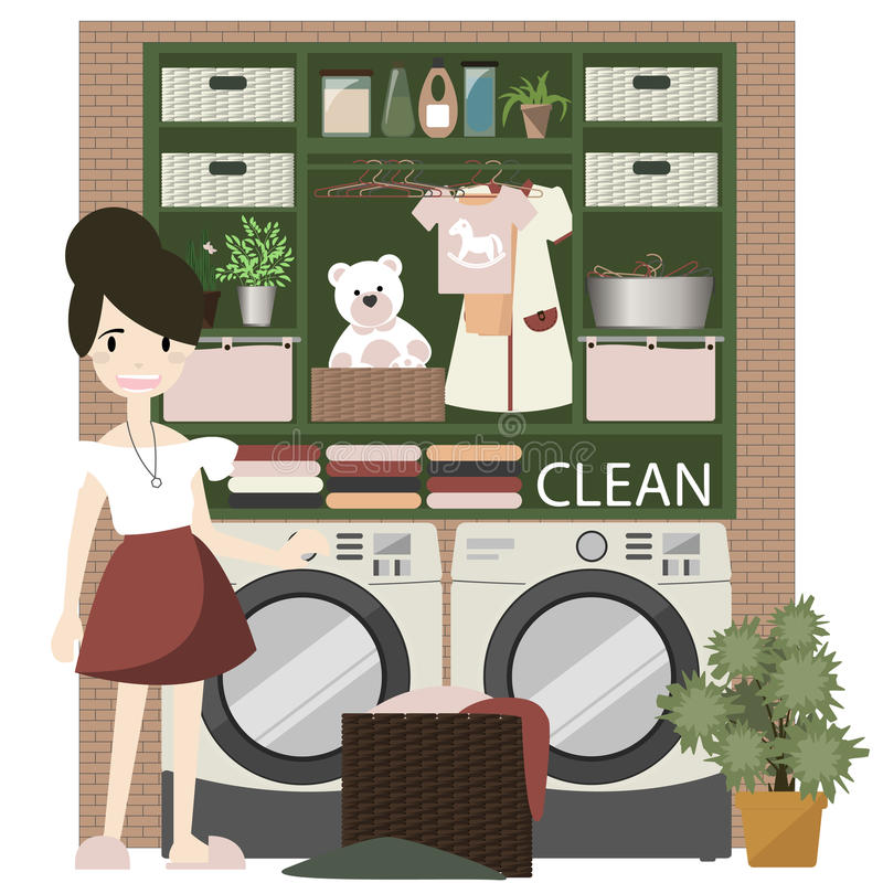 Laundry room with washing machine. stock illustration