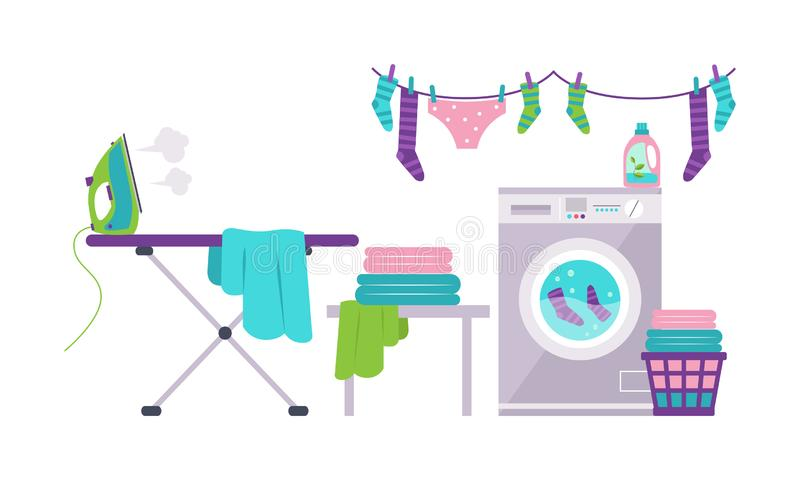 Laundry room with washing machine, ironing board, clothes rack, basket vector Illustration royalty free illustration