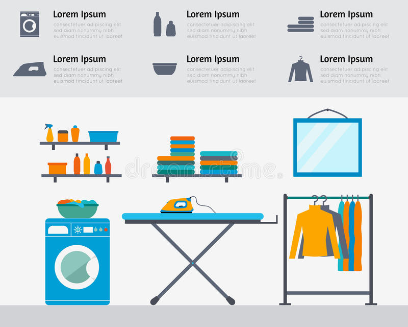 Laundry room vector illustration