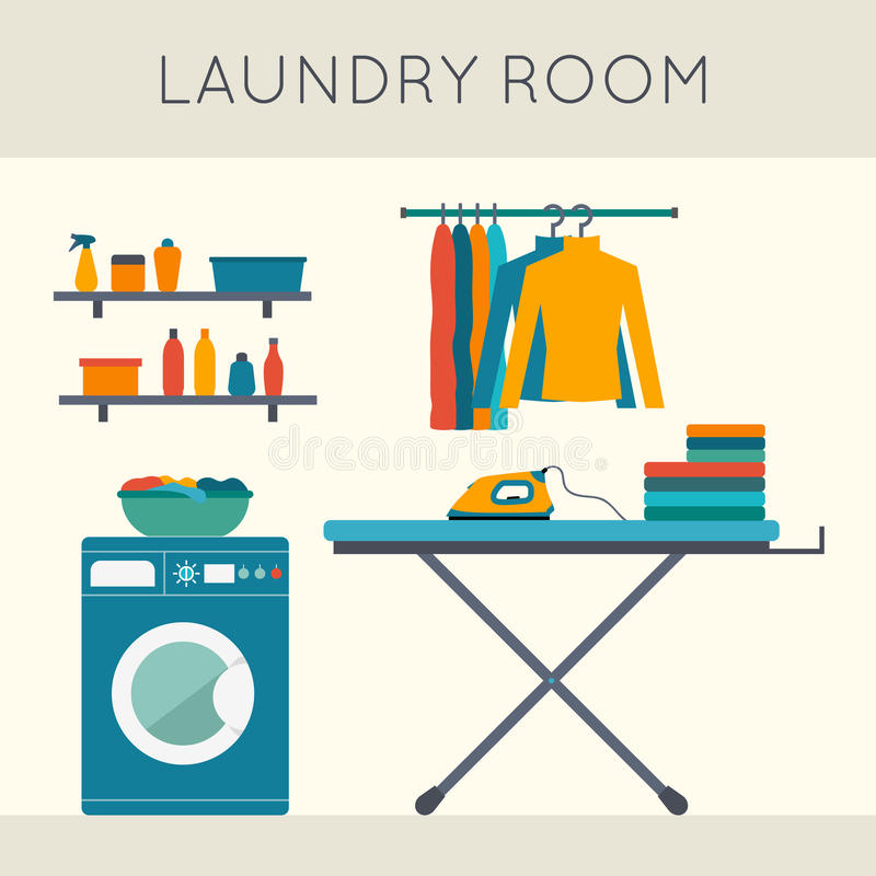 Laundry room. With washing machine, ironing board, clothes rack with things, facilities for washing, washing powder and mirror. Flat style vector illustration vector illustration