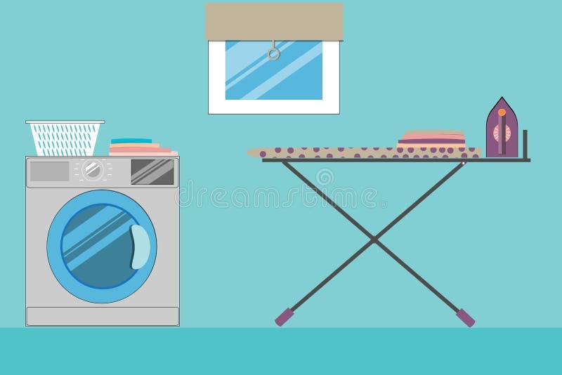 Laundry room with window, washing machine, laundry basket royalty free illustration