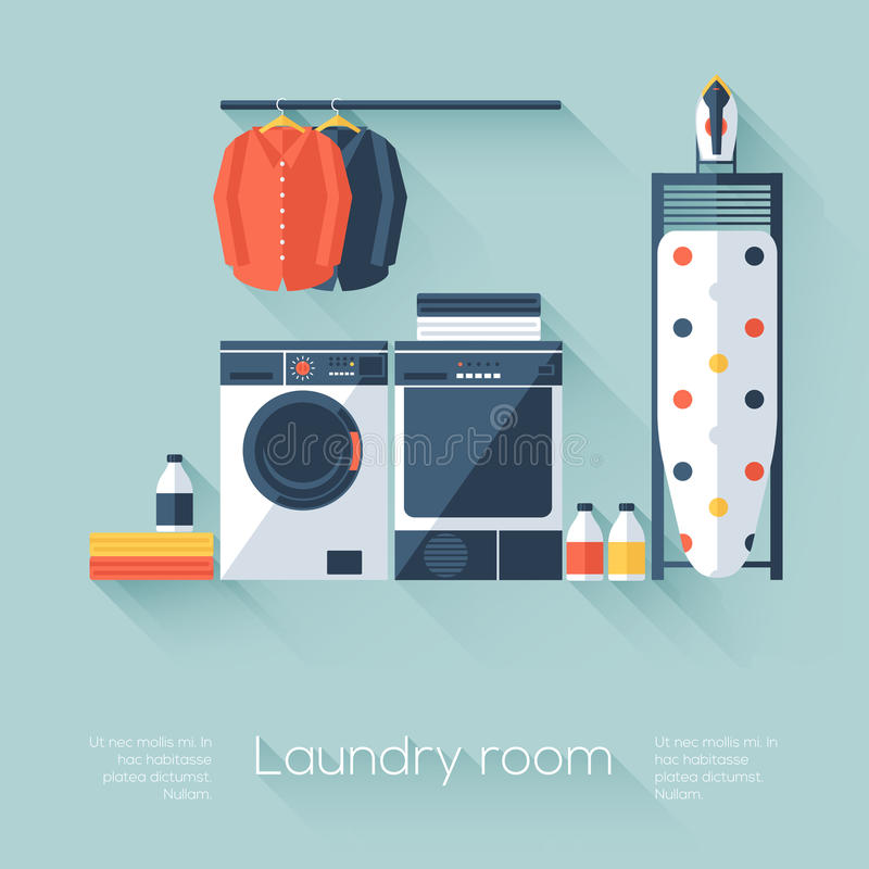 Free Laundry Room With Washing Machine And Dryer. Flat Style With Long Shadows. Modern Trendy Design. Stock Photo - 47163730
