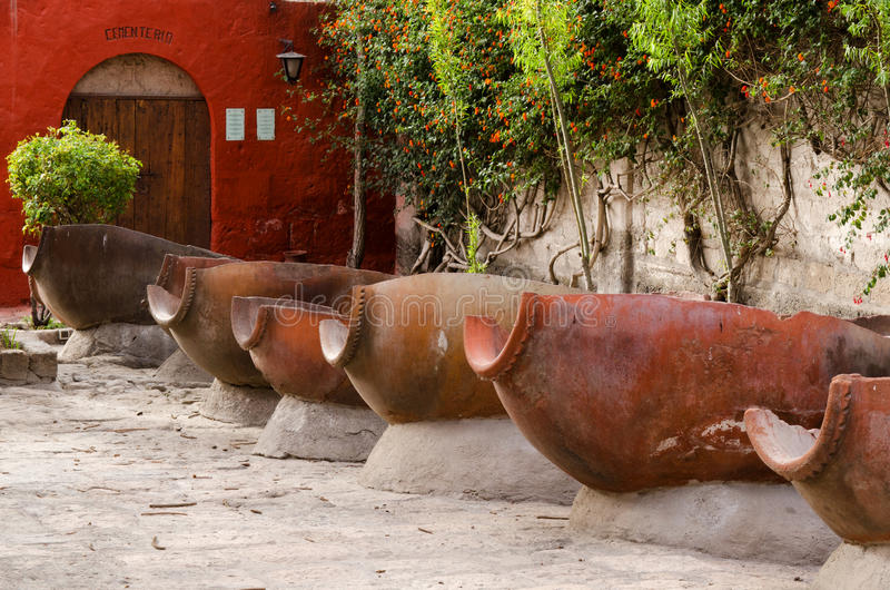 The laundry in Santa Catalina Monastery, Arequipa, Peru royalty free stock images