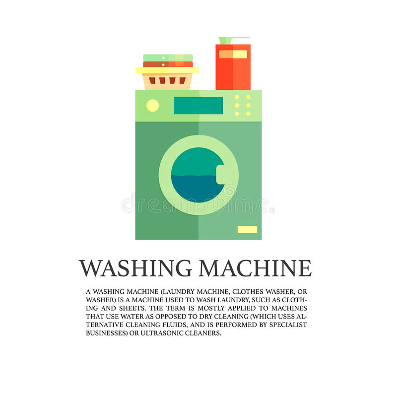 Laundry service advertising poster, vector logo with washing machine stock illustration