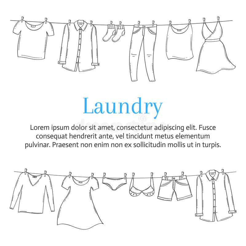 Laundry service banner template with clothes hanging on clothesline, hand drawn sketch, vector illustration. vector illustration