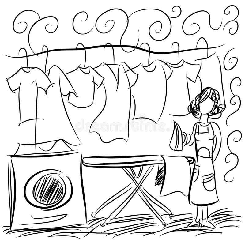 Laundry Service Drawing. An image of a laundry service drawing stock illustration