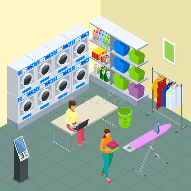 Laundry service and dry cleaning concept. Row of industrial laundry machines in laundromat. Iron, ironing board and. Laundry basketf. Flat isometric style stock illustration