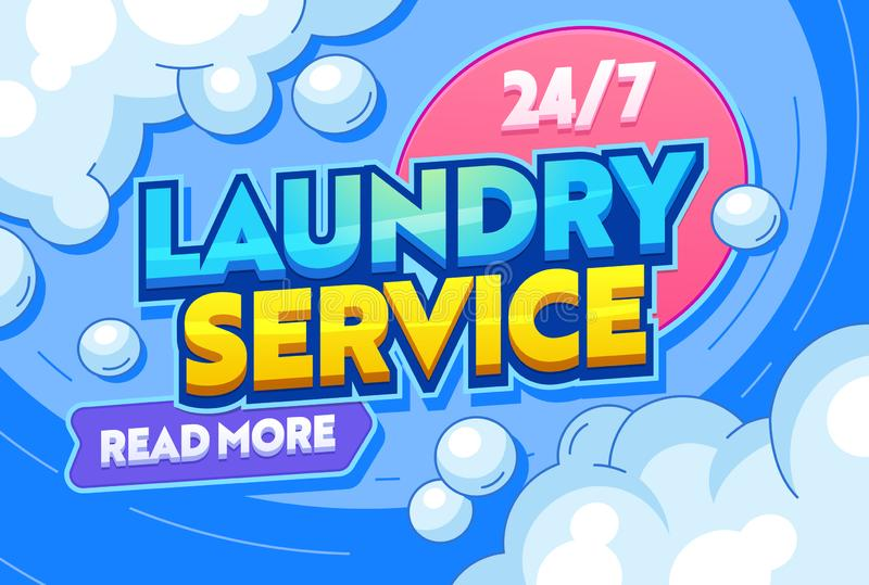 Laundry Service Dry Clothing Textiles Typography Banner. Washing Water Containing Detergents or other Chemical, Agitation, Rinsing. And Pressing in Communal stock illustration