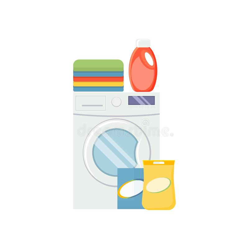 Laundry service elements. Washind machine, detergerns and clothe. S vector illustration isolated on white background vector illustration