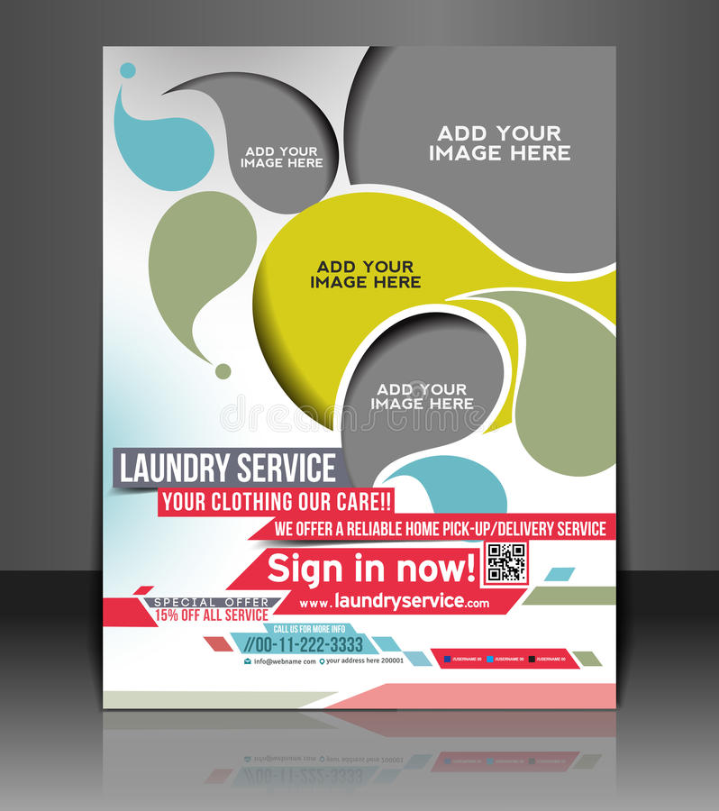 Laundry Service Flyer Design Stock Vector Illustration Of Business