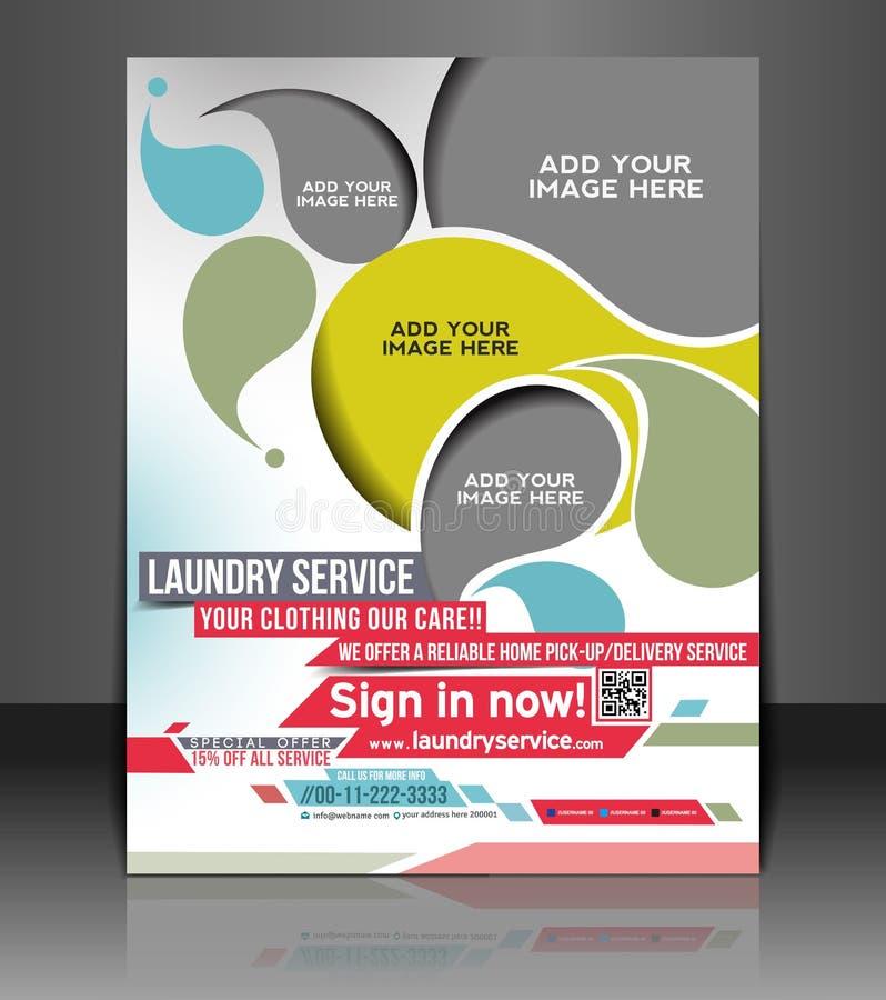 Laundry Service Flyer Design. Laundry Service Flyer & Poster Template Design stock illustration