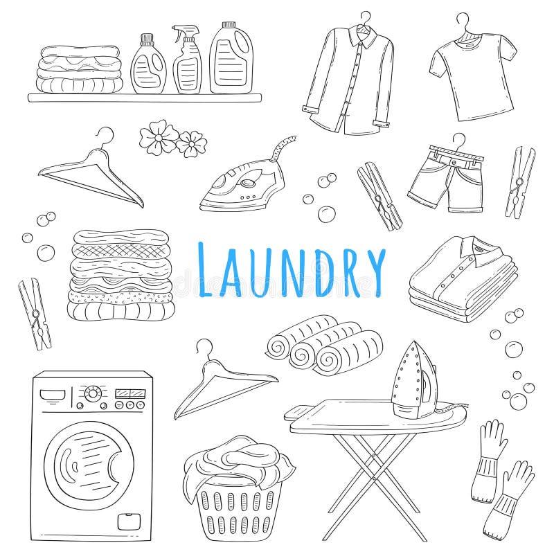 Laundry service hand drawn doodle icons set, vector illustration. Washing, drying and ironing symbols, washing machine, laundry basket, clothes, iron, ironing vector illustration