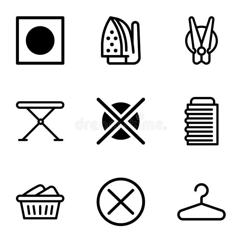 Laundry service icon set, outline style. Laundry service icon set. Outline set of 9 laundry service vector icons for web design isolated on white background stock illustration