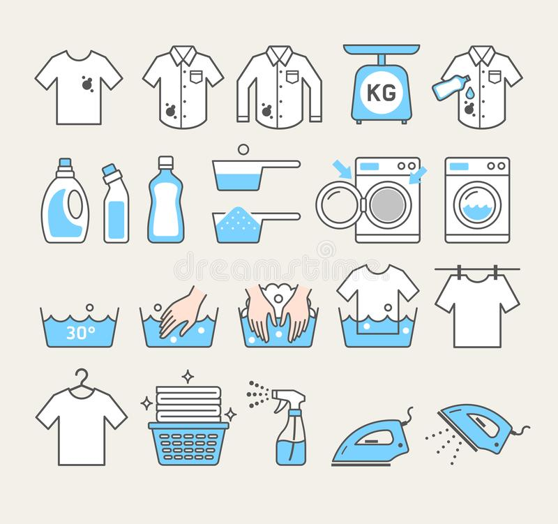 Laundry service icons set. Laundry service icons. Vector illustrations stock illustration