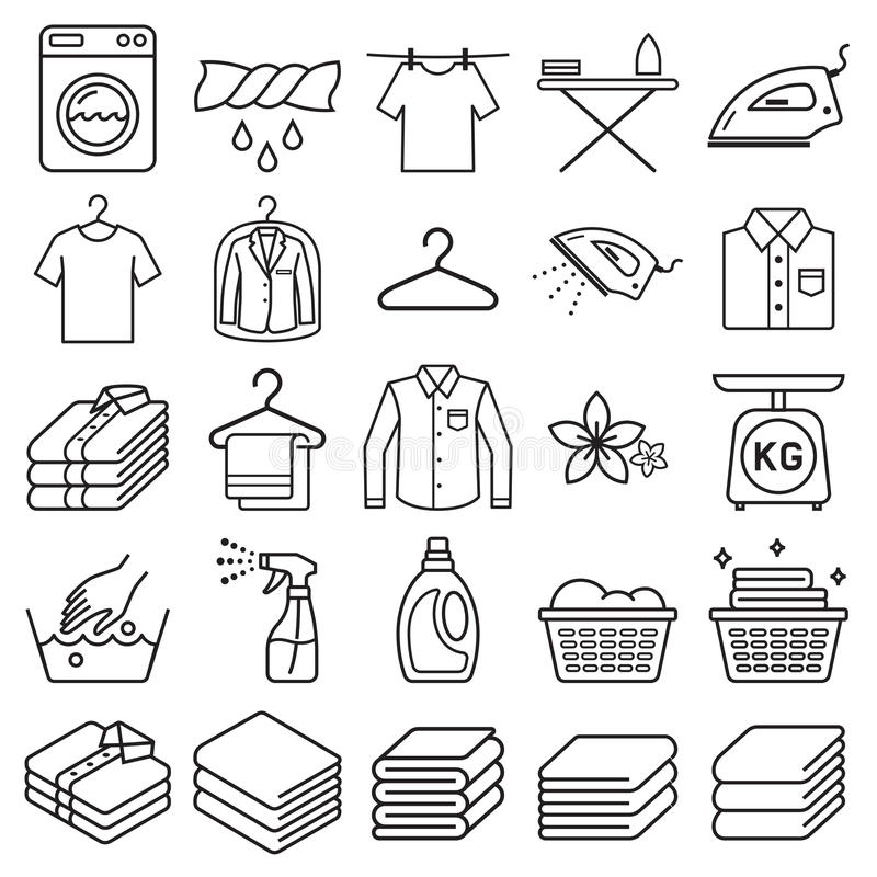 Laundry service icons. Vector. Illustrations vector illustration
