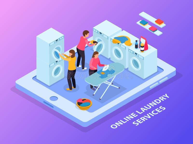 Laundry Service Isometric Background stock illustration