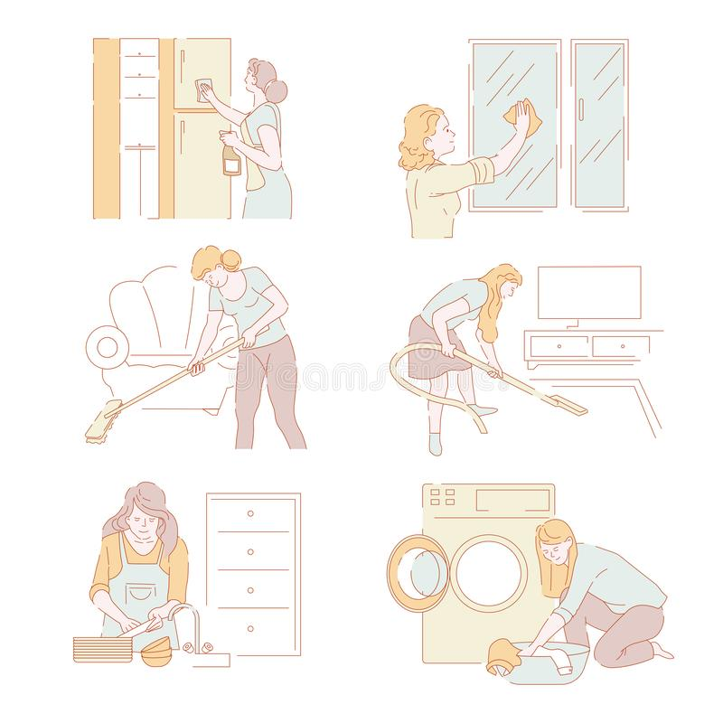 Laundry service lady working at home chores in house. Vector. Woman busy with domestic work cleaning furniture and washing dishes purifying window glass and royalty free illustration