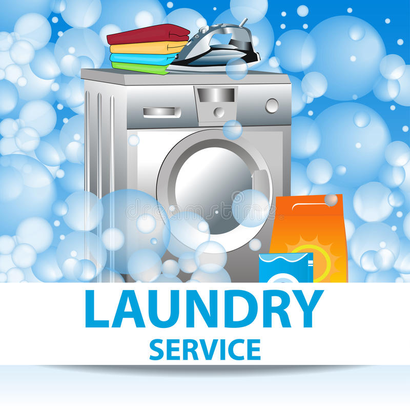 Laundry service. Poster template for house cleaning services. Vector stock illustration