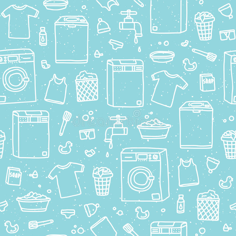 Laundry service seamless vector pattern. Laundry service day seamless vector pattern blue stock illustration