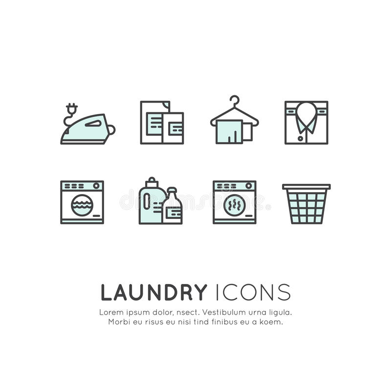 Laundry Service, Washing and Cleaning Up Clothes, Dry Cleaning. Vector Icon Style Illustration Logo Set Collection of Laundry Service, Washing and Cleaning Up royalty free illustration