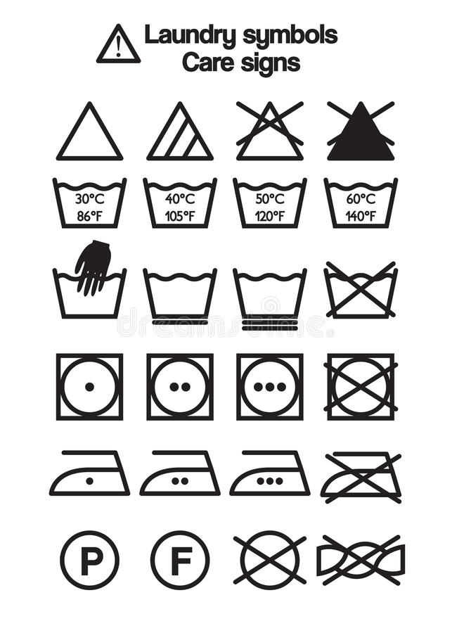 Laundry Symbols Care Signs Stock Vector Illustration Of Bleaching