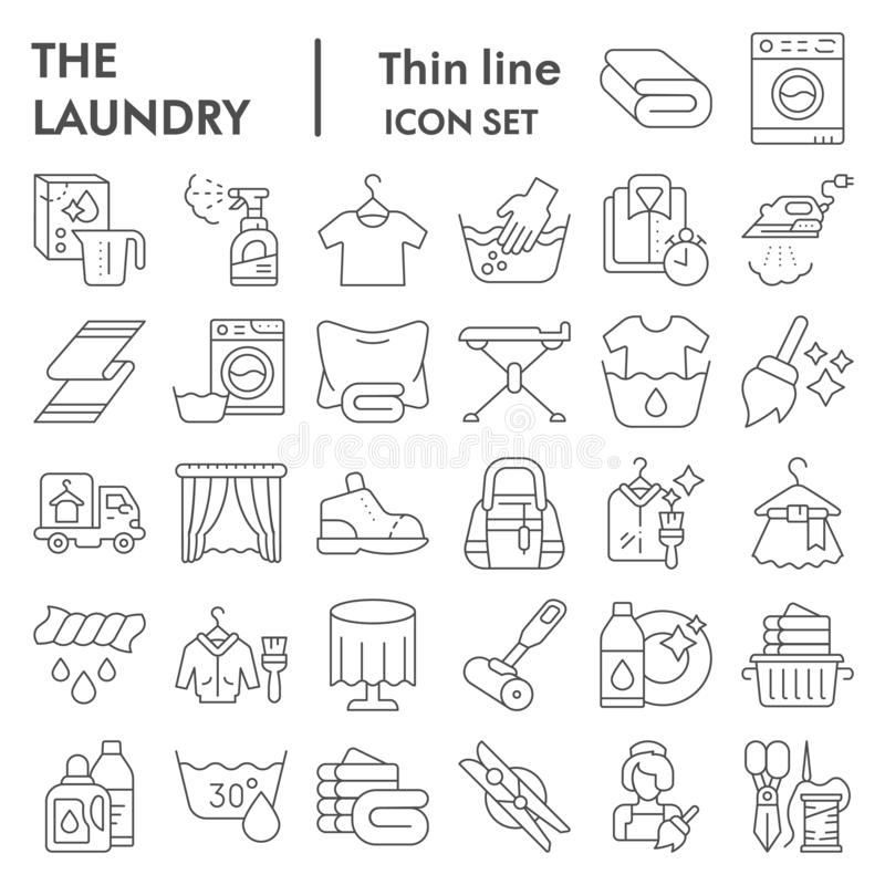 Laundry thin line icon set, washing clothes symbols collection, vector sketches, logo illustrations, housework signs. Linear pictograms package isolated on royalty free illustration